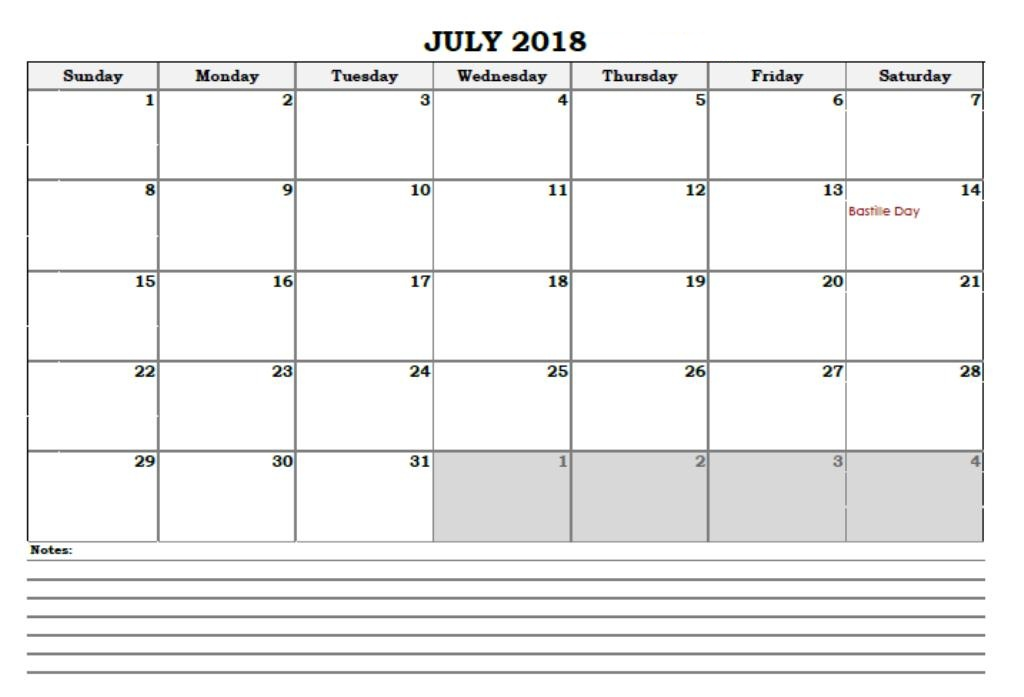July Calendar 2018 Archives