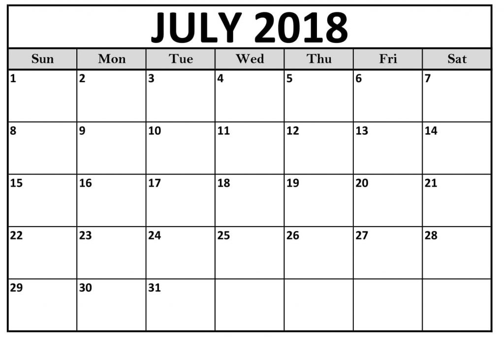July Calendar 2018 Monthly Desktop Printable