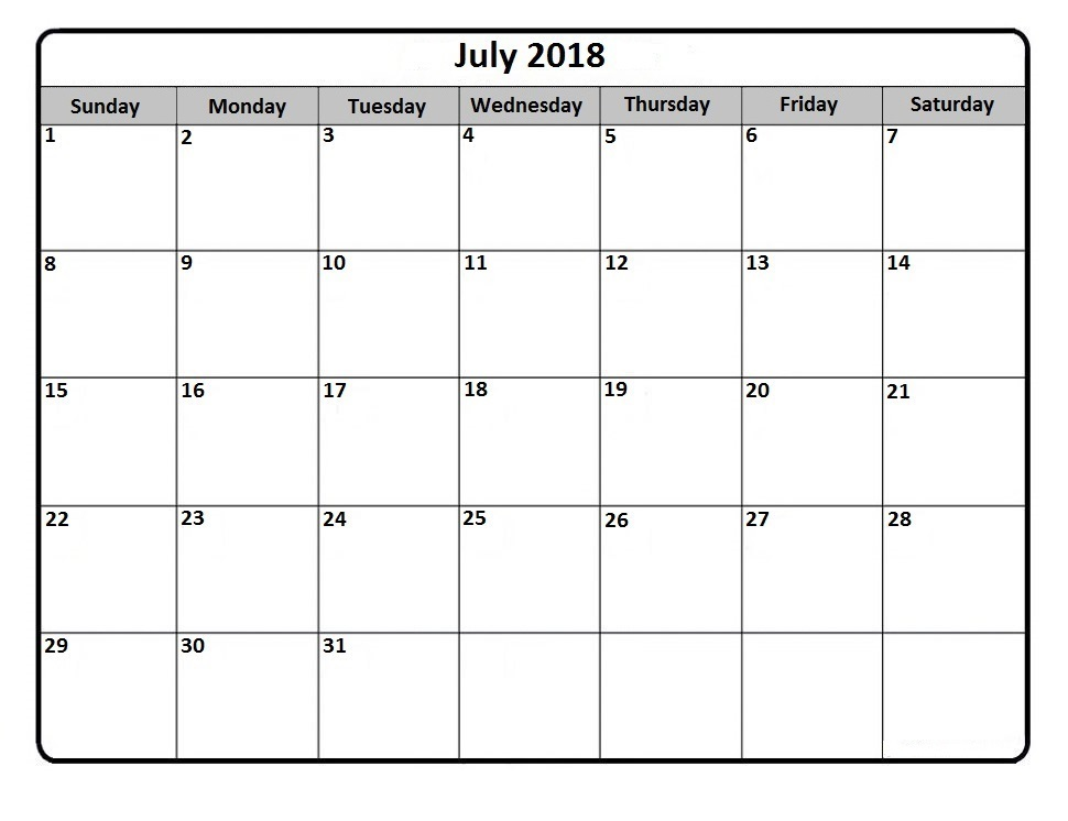 July Calendar 2018 Printable PDF Blank Template