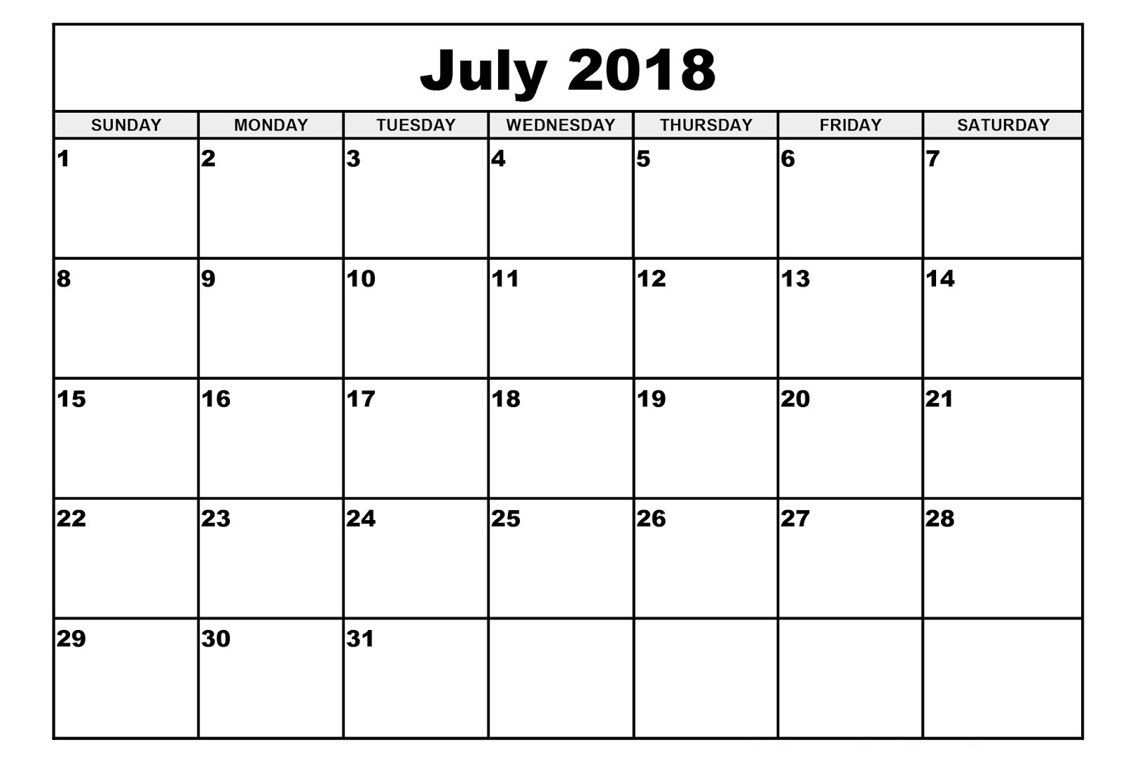 July Calendar 2018 Printable Design Planner