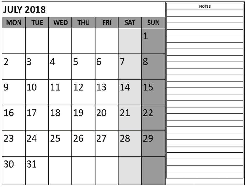 July Calendar 2018 Printable Excel With Notes