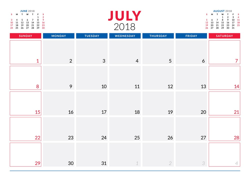 July Calendar 2018 Printable Template