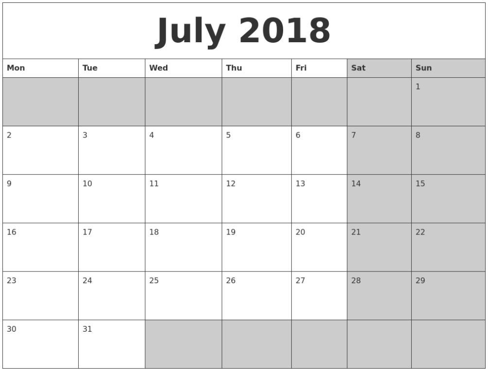 July Calendar 2018 Printable Word Template