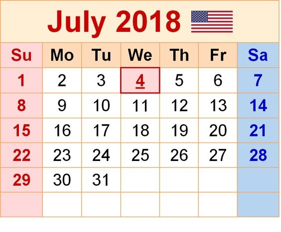 July Calendar 2018 Template UK