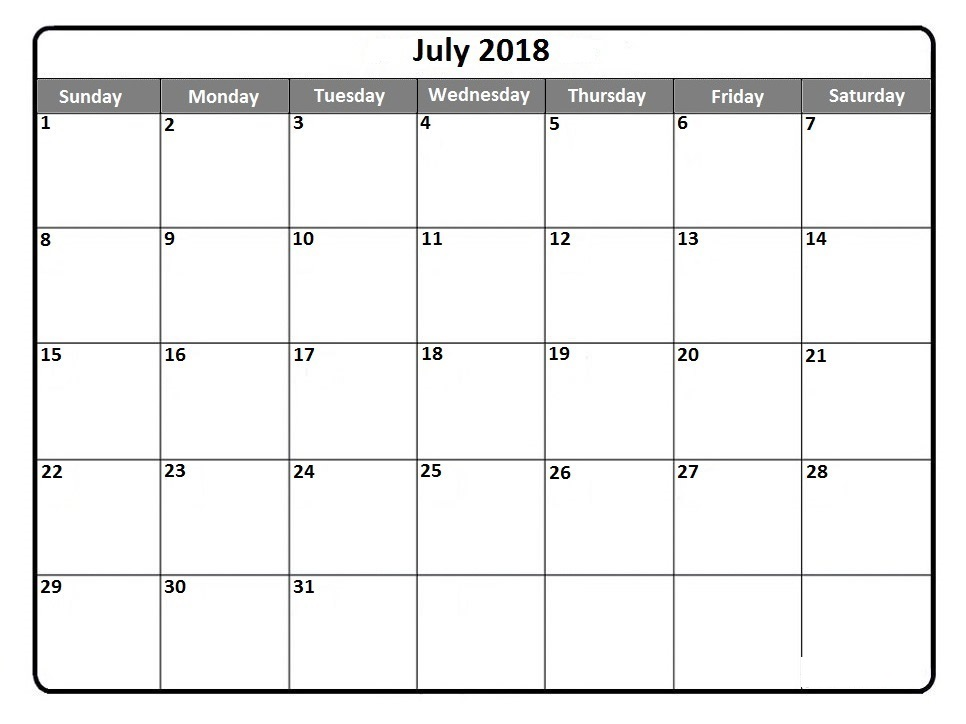 July Calendar 2018 Template Word