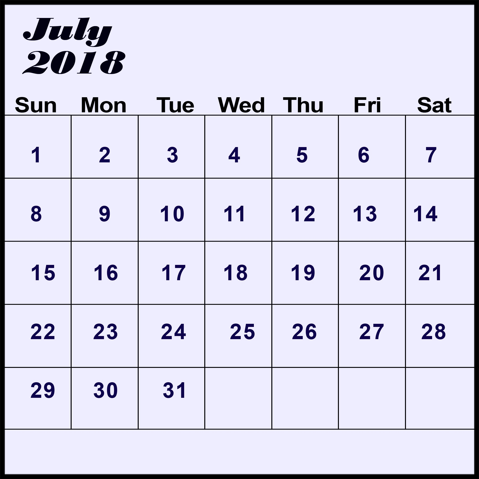 July Calendar 2018 Weakly Printable Custom