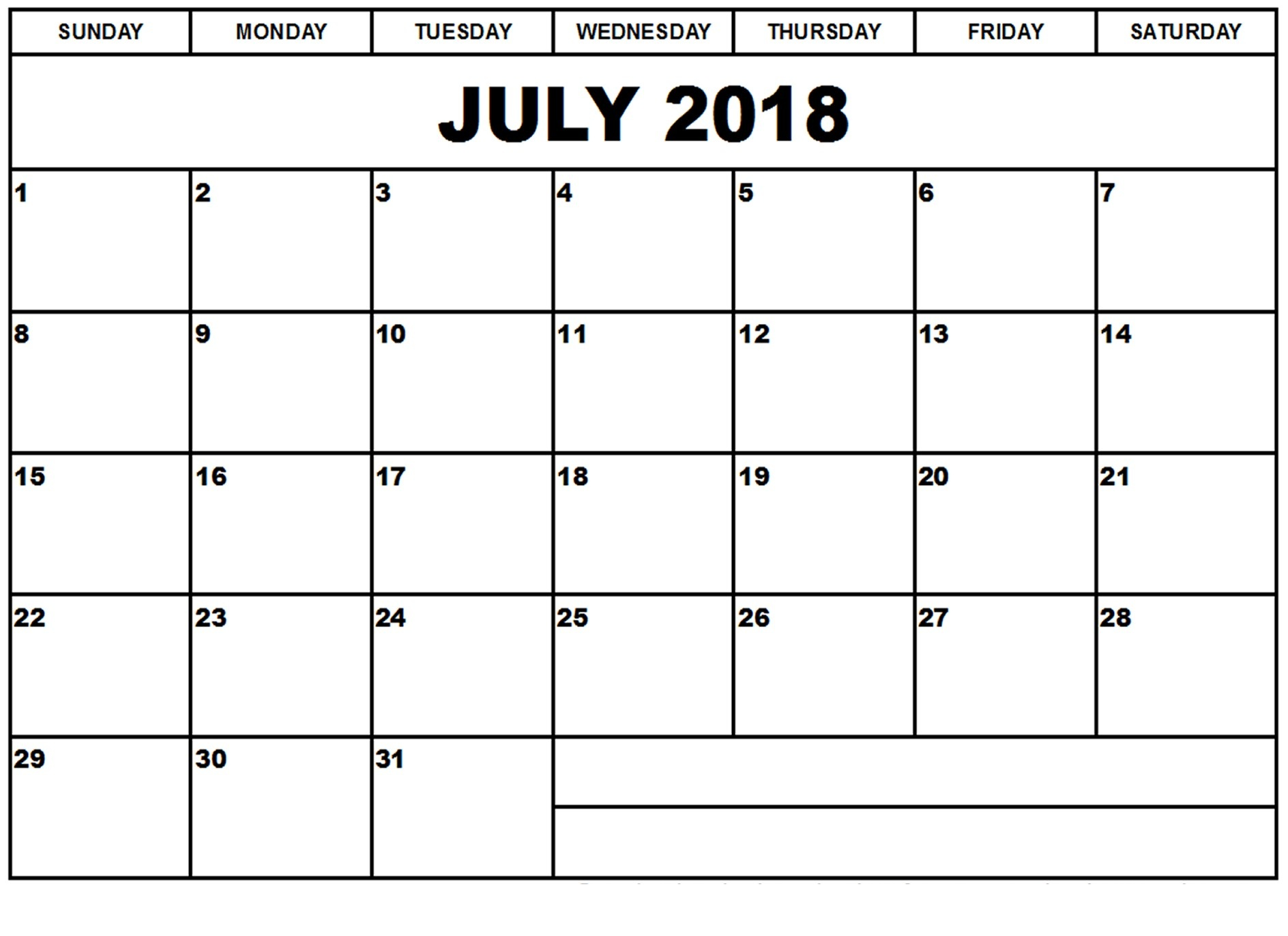 July Calendar 2018 Word Printable Template