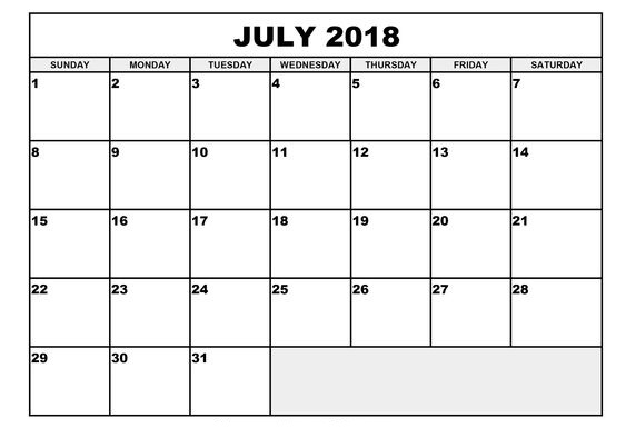 July Calendar 2018 Word Template