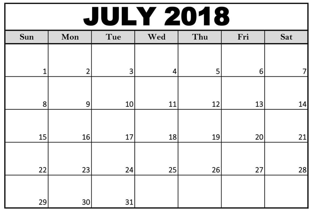 July 2018 Calendar Template Word Excel Pdf Format