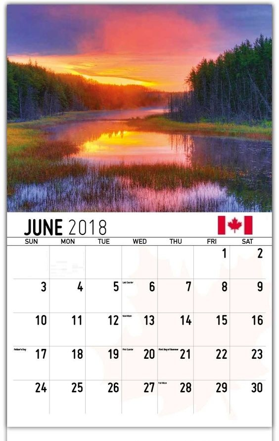June 2018 Calendar Canada Cute Wallpaper
