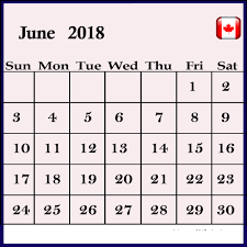 June 2018 Calendar Canada Printable Table