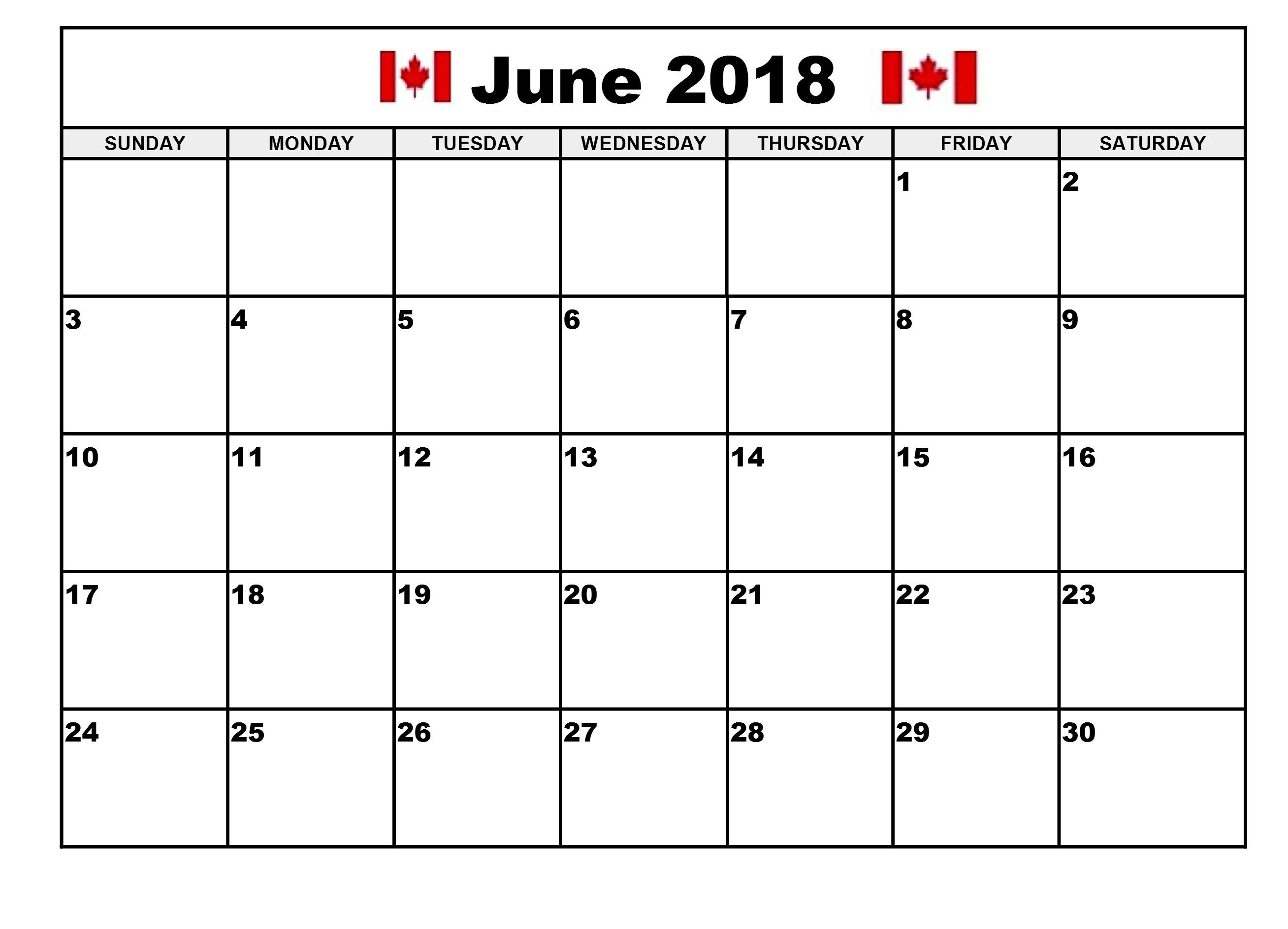 June 2018 Calendar Canada Word Templates