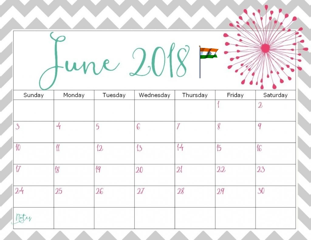 June 2018 Calendar India Word Table Document