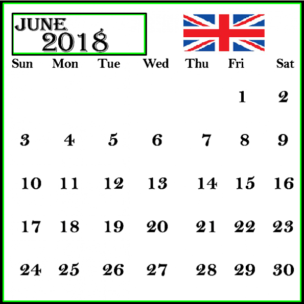 June 2018 Calendar Uk Frame Table