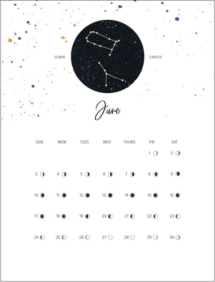 June 2018 Moon Cycle Calendar