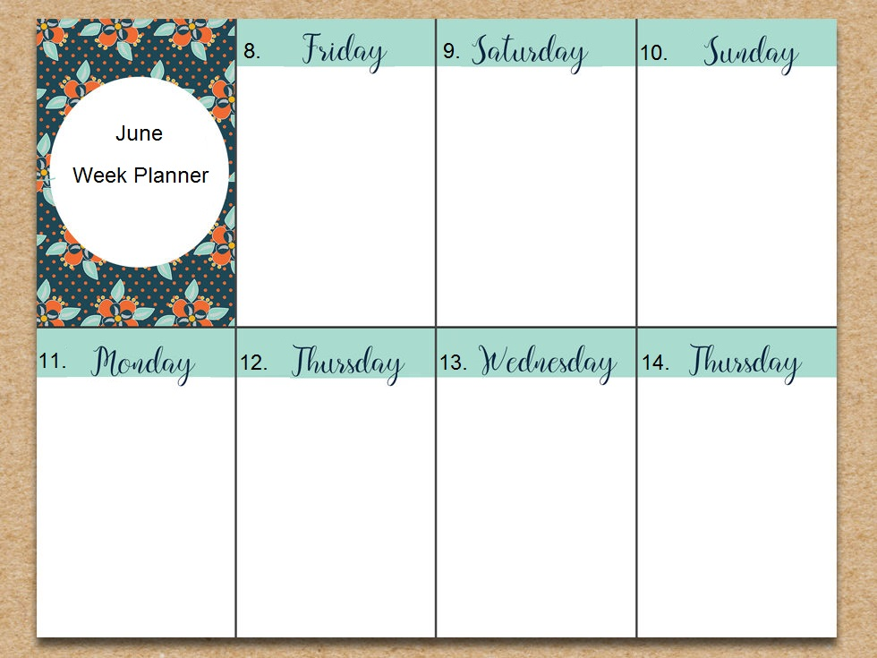 June 2018 Weekly Planner Design