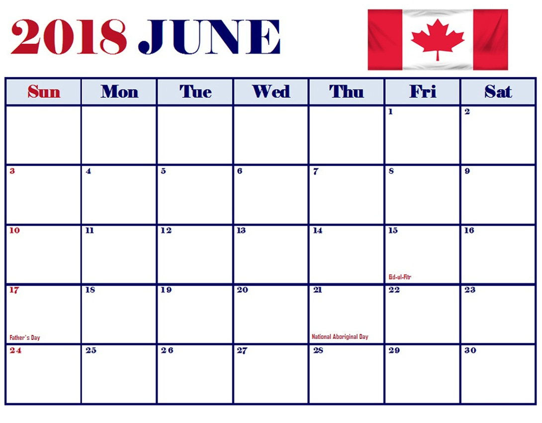 June Calendar Canada Word Templates 2018