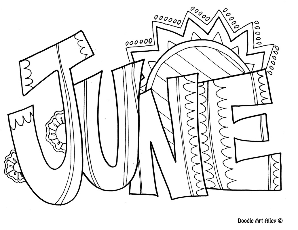 June Clipart Black and White