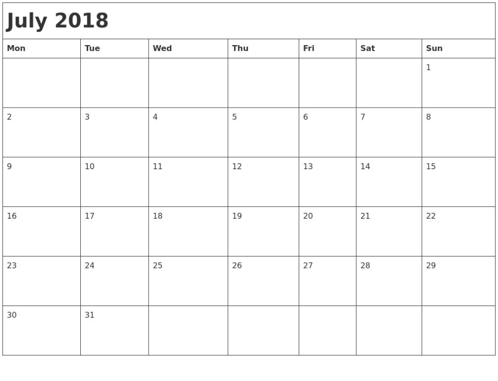 Monthly July Calendar 2018