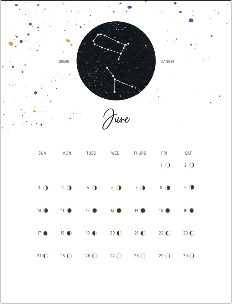 Moon Phases June 2018 Printable