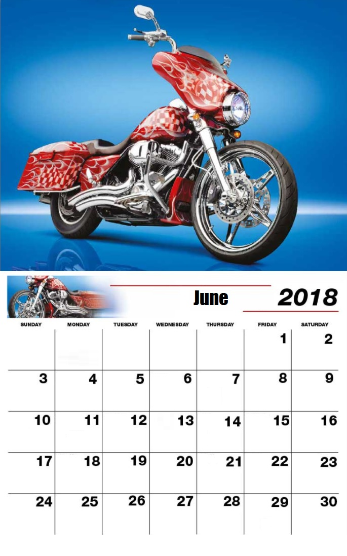 Moter Bike Personalized June 2018 Calendar