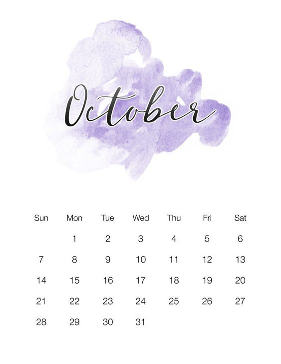 October 2018 Calendar Crafty Printable