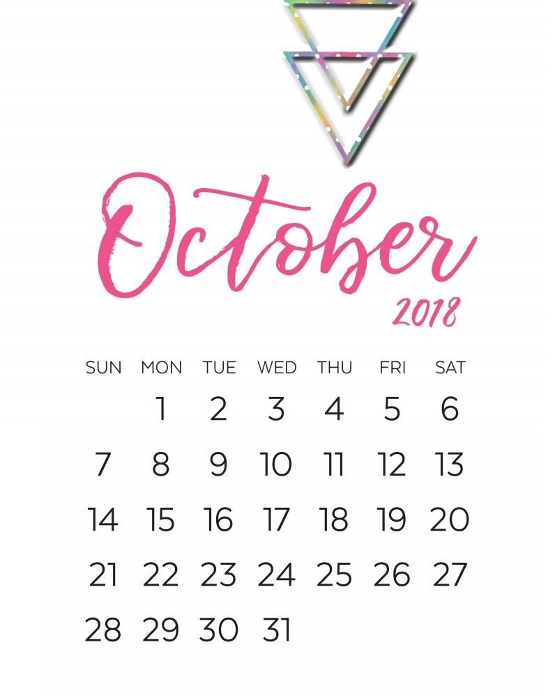 October 2018 Calendar Decoration