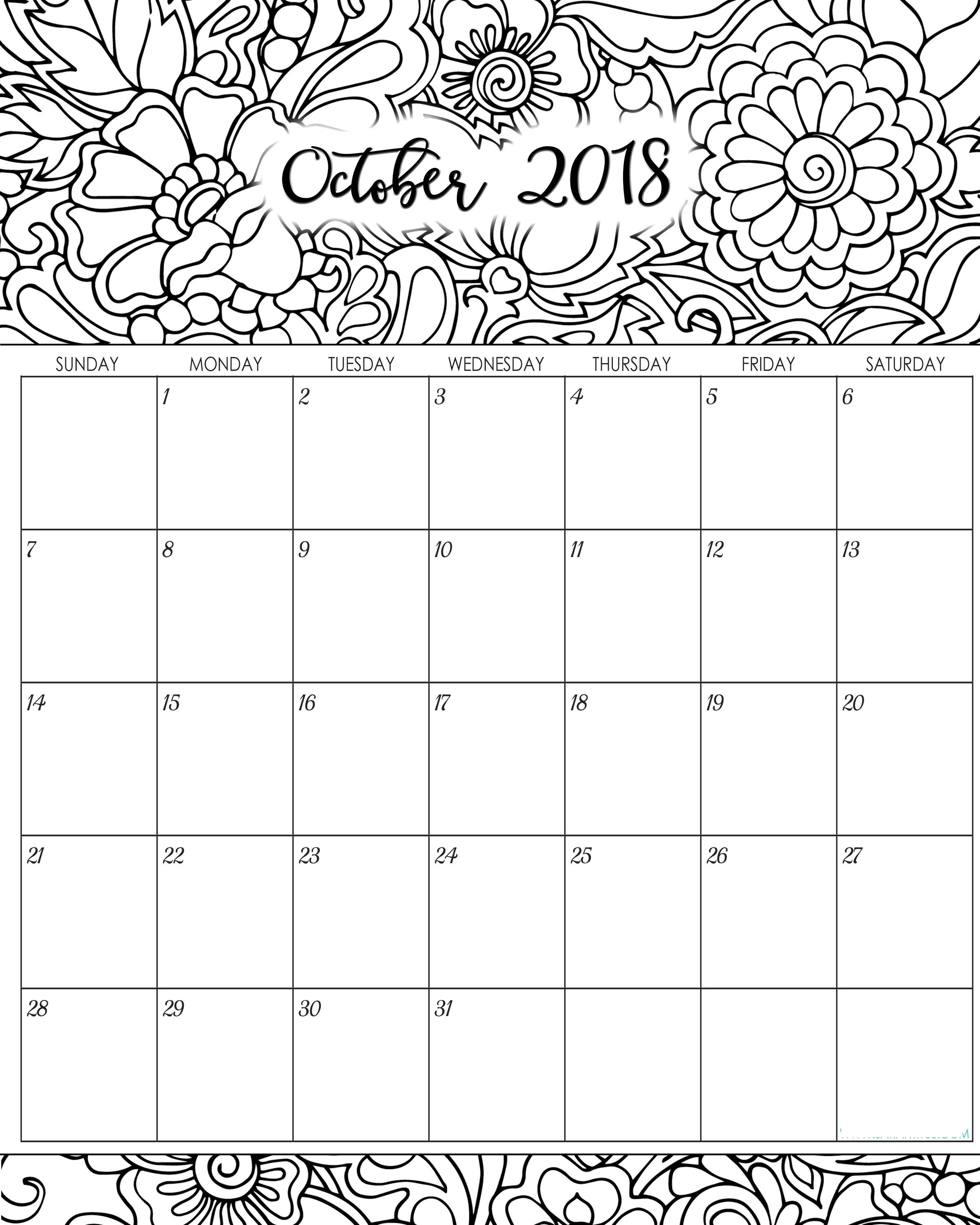 October 2018 Calendar Printable Coloring Page