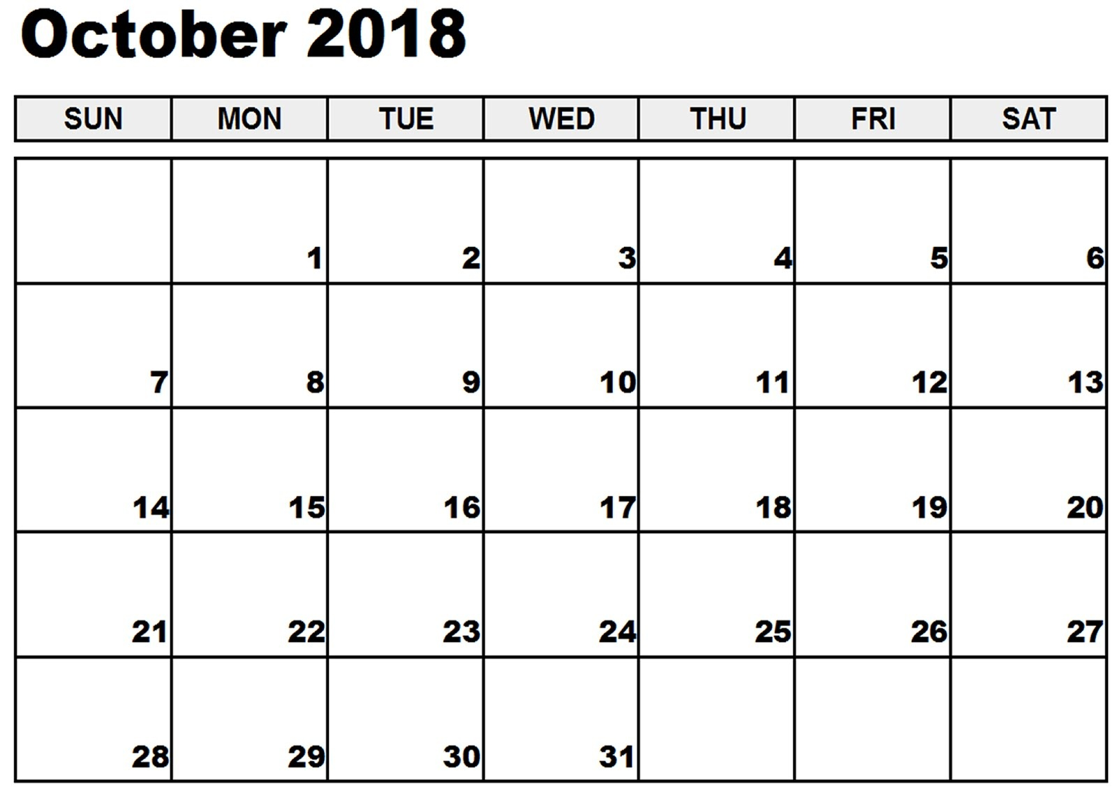 October 2018 Calendar Printable Desk