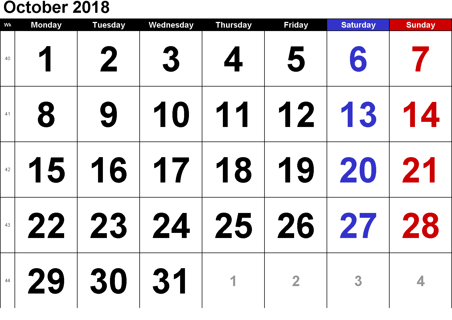 October 2018 Calendar Template Excel