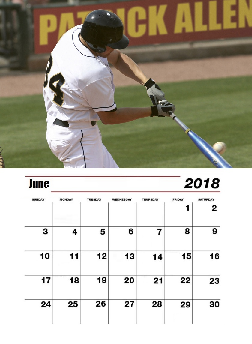 Personalized June 2018 Baseball Calendar