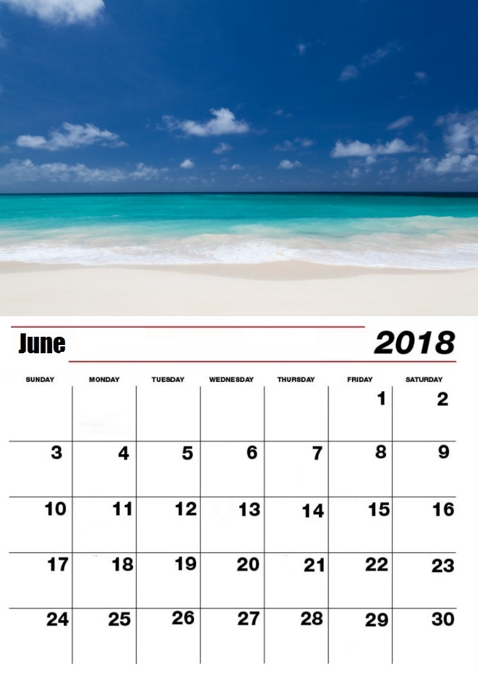 Personalized June 2018 Beach Calendar