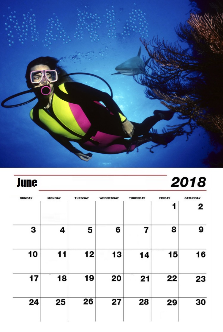 Personalized June 2018 Extreme Sports Calendar