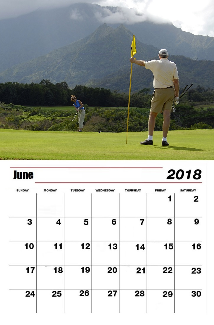 Personalized June 2018 Golf Calendar