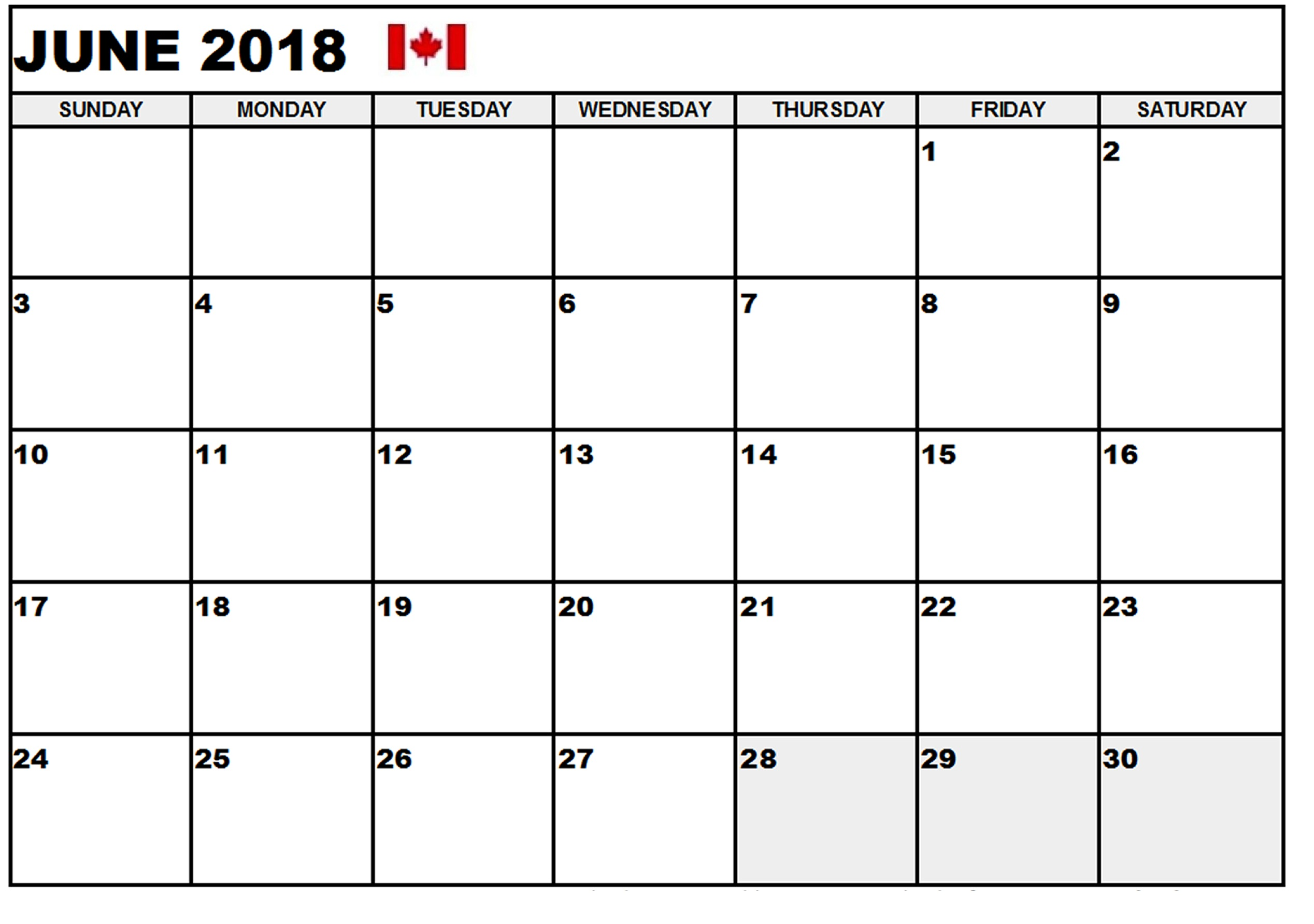 Planner June 2018 Calendar Canada Free Download