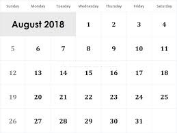 Printable Calendar August 2018 Large Number