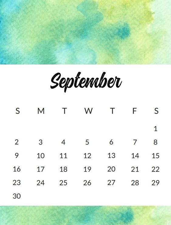 September 2018 Calendar Printable Cute