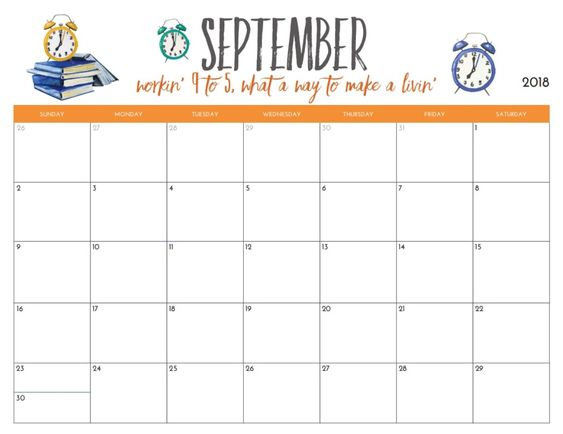 September 2018 Calendar Printable Desk