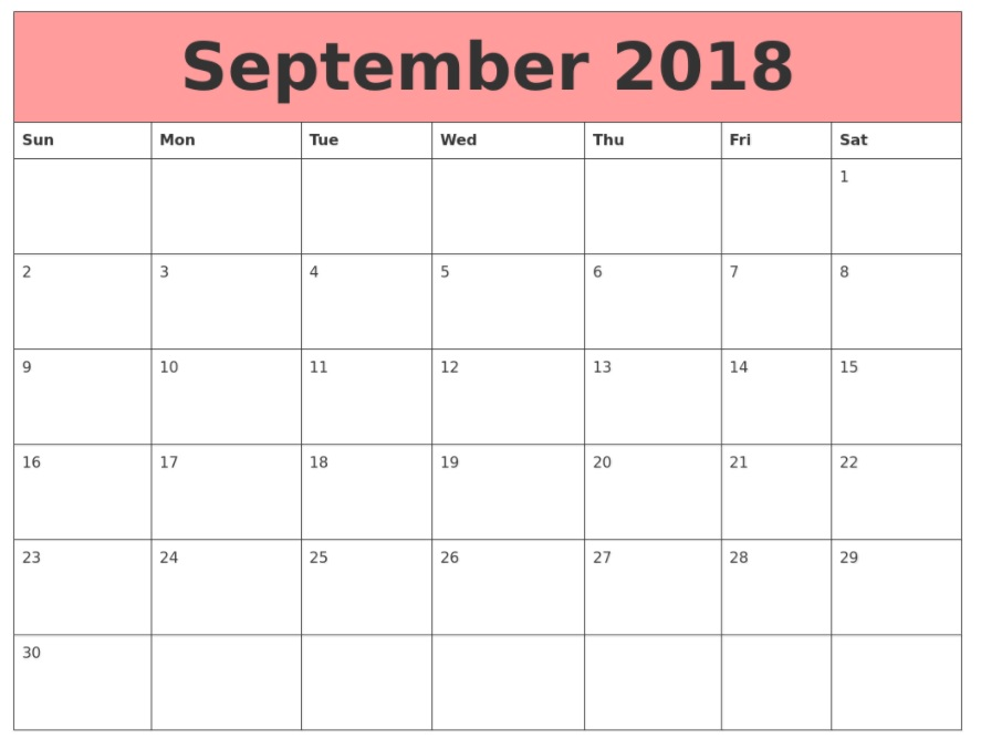 September 2018 Calendar Printable Google Doc