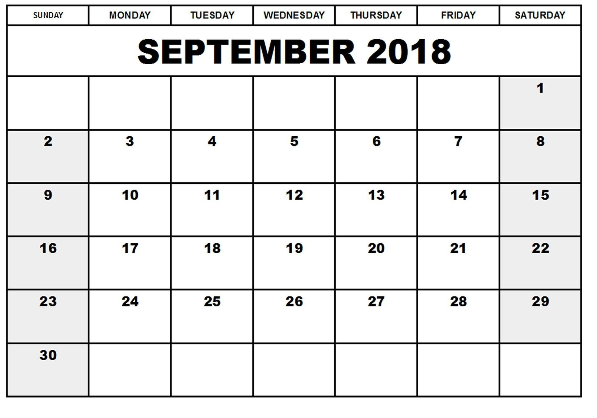 September 2018 Calendar Printable Table