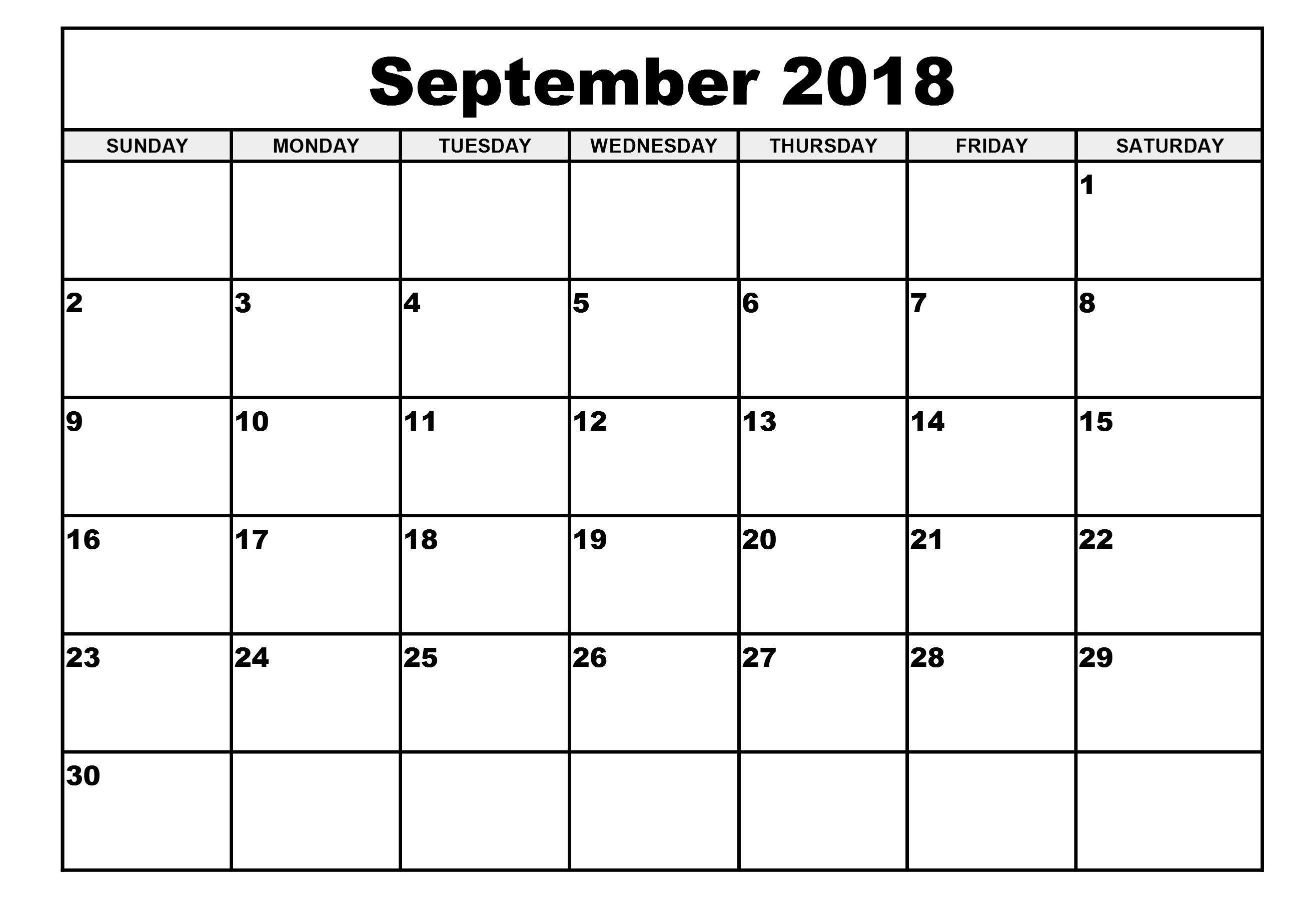 september 2018 calendar template word  excel  pdf document