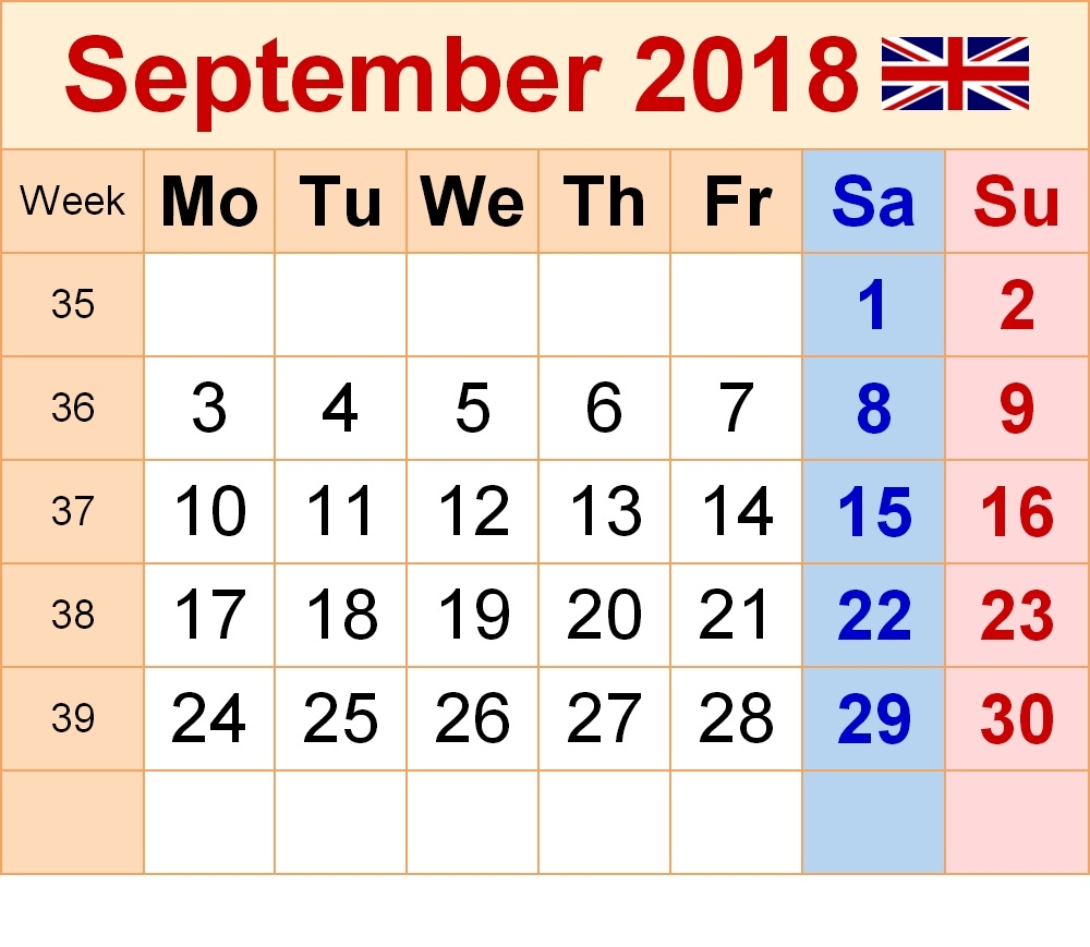 September 2018 Calendar With England Holidays