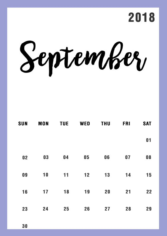 September 2018 Calendar With Bank Holidays