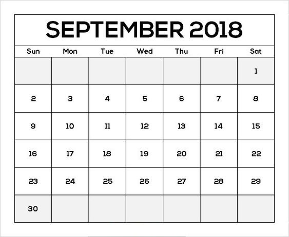 September 2018 Calendar With Indian Holidays