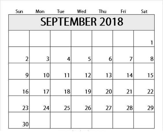 September 2018 Calendar With National Holidays