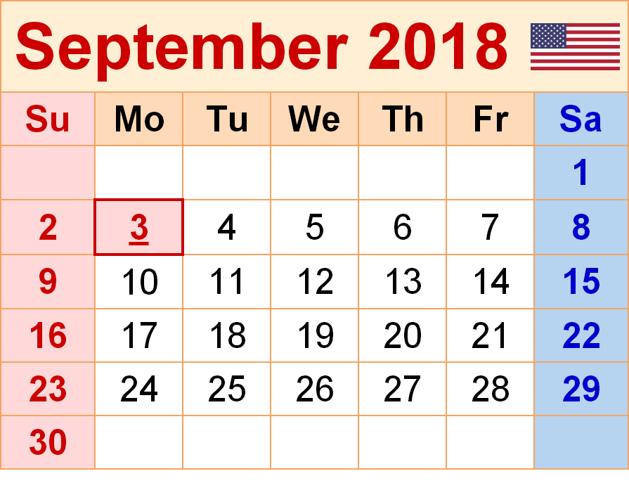 September 2018 Calendar With UK Holidays