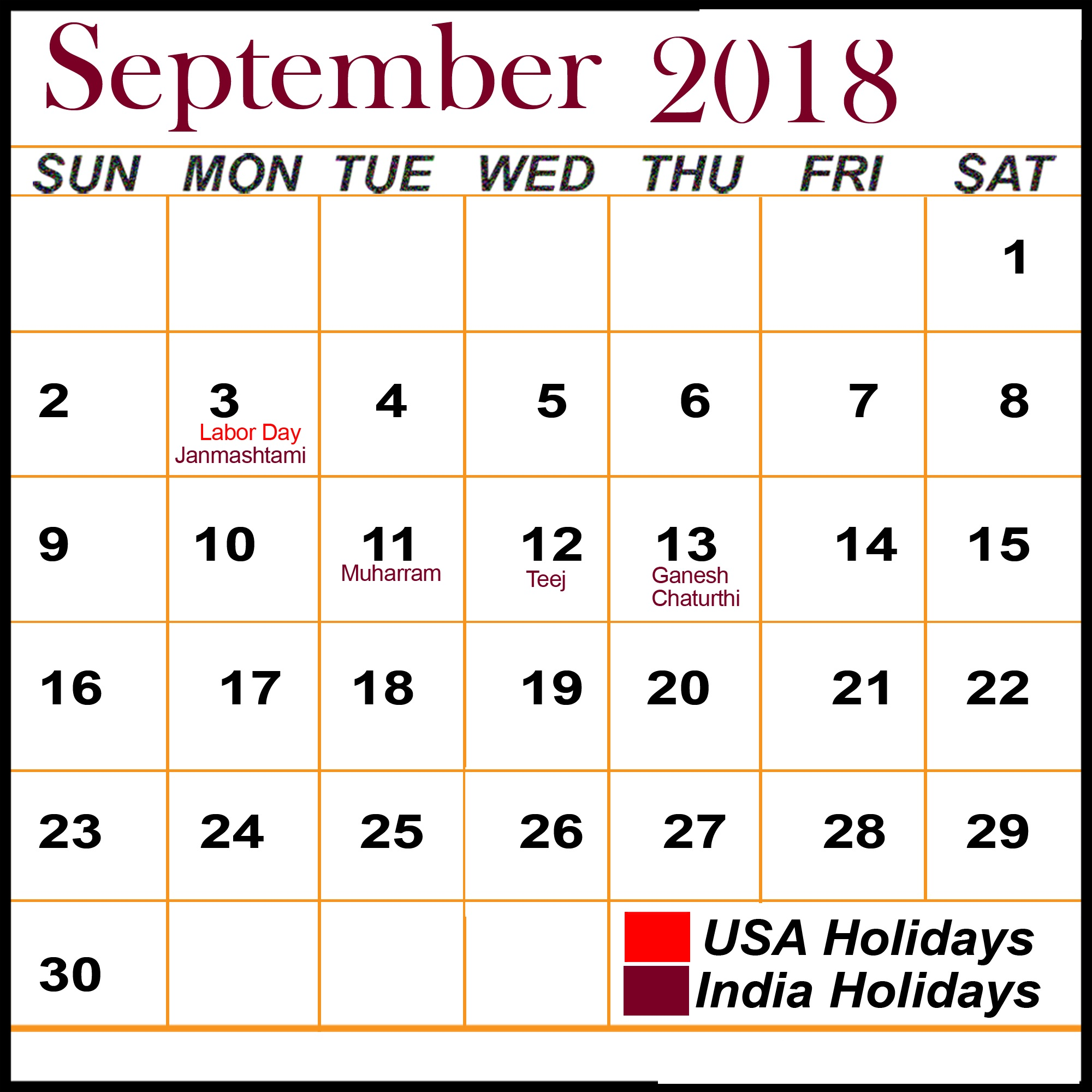 September 2018 Calendar With USA Holidays