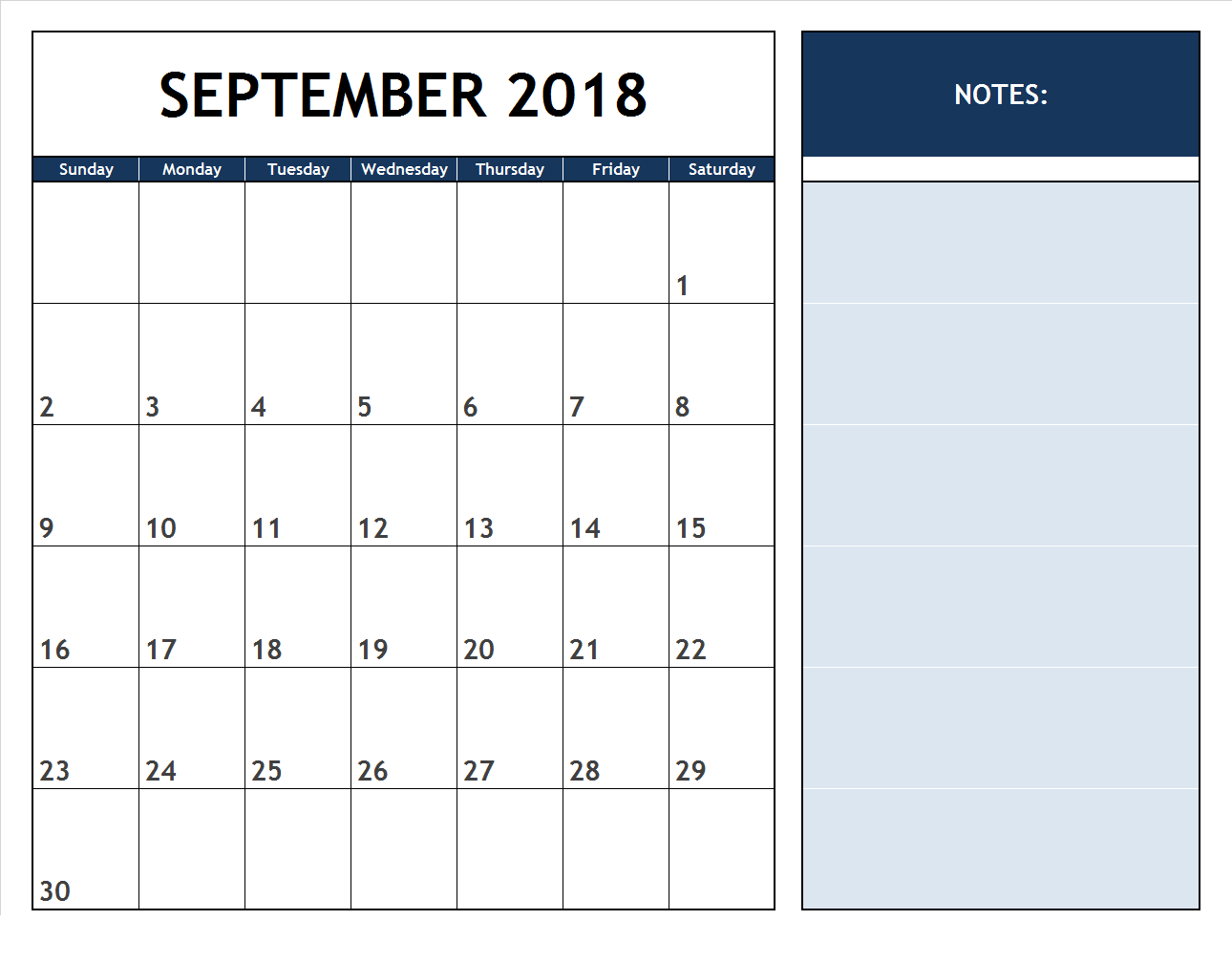 September 2018 Calendar with Notes