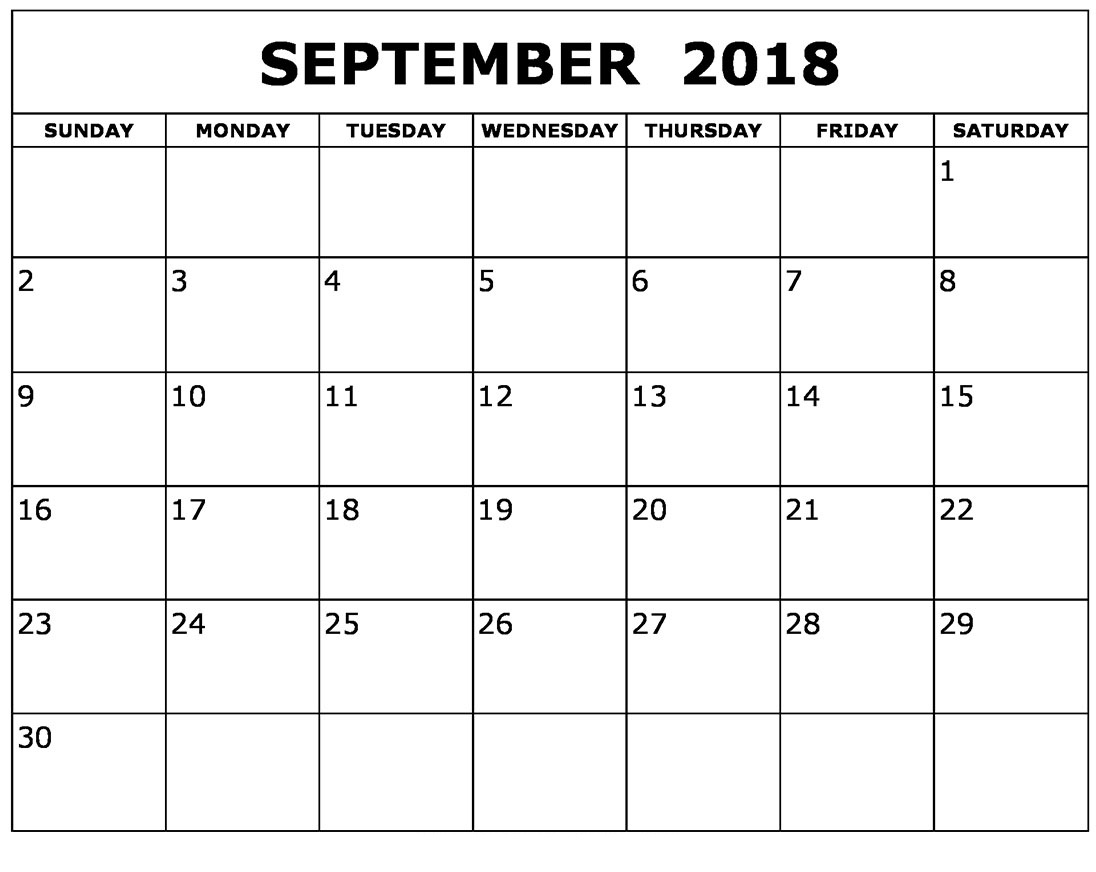 September 2018 Calendar Printable With Holidays