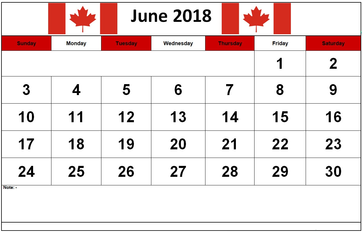 Weakly June 2018 Calendar Canada With Public Holidays